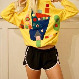 Vintage 80s sweater - retro unique colorblock - M